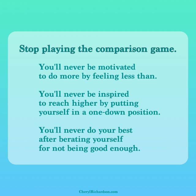 stop playing the comparison game